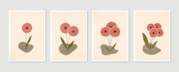 植物の壁アートセット。最小限の自然な壁の芸術。現代アートポスターのコレクション。抽象植物アート。