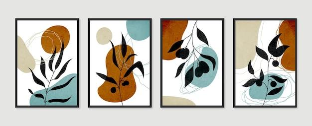 植物の壁アートセット。最小限の自然な壁の芸術。現代アートポスターのコレクション。抽象的な植物アート。