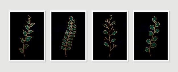 植物の壁アートセット。最小限の自然な壁の芸術。