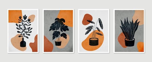 식물 벽 예술 세트. 미니멀하고 자연스러운 벽 예술.