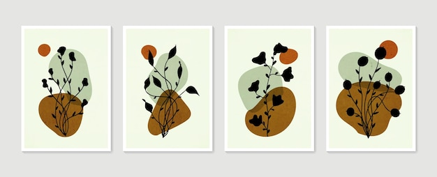식물 벽 예술 세트 최소한의 자연 벽 예술