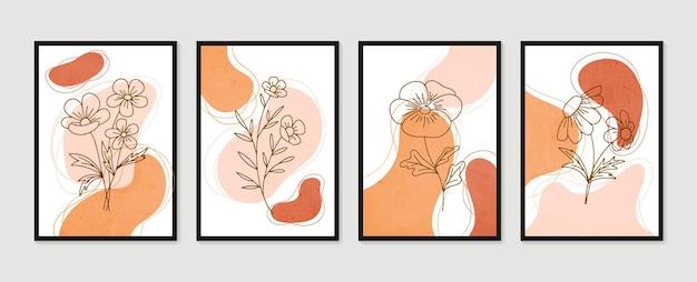 植物の壁の芸術セット最小限の自然な壁の芸術