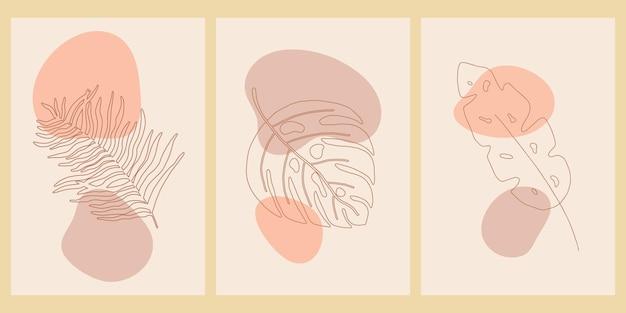 식물 벽 예술 세트입니다. 추상적 인 모양으로 boho 미니멀리스트를 인쇄하십시오. 추상 가정 장식, 꽃 무늬 보헤미안 예술 작품, 벡터