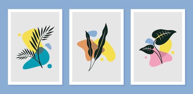 인쇄, 표지, 벽지 미니멀리스트를위한 추상 모양으로 설정된 식물 벽 예술