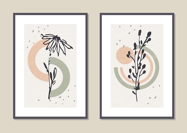 植物の壁アートセット。