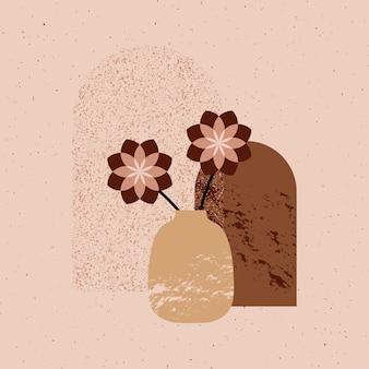 Ботанический настенный вектор искусства цветочный рисунок и ваза с абстрактной формой абстрактный дизайн растений