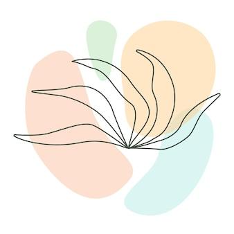 Ботанический вектор искусства стены. рисование одной линии листвы с пастельной абстрактной формой. минималистичное и естественное настенное искусство. векторная иллюстрация
