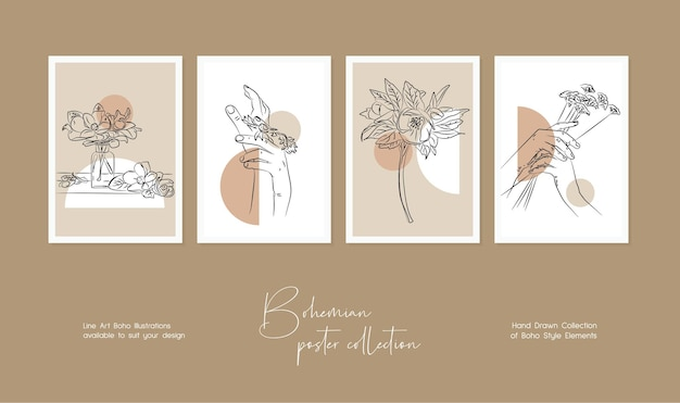 Botanical wall art vector set bohemian line art drawing with abstract shape
