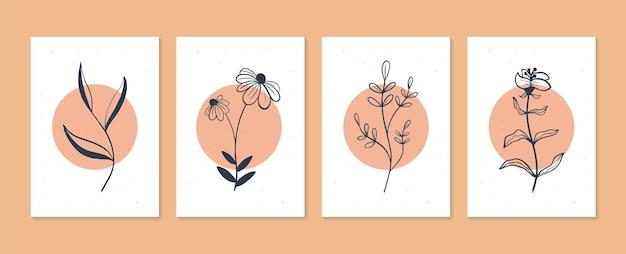 식물 벽 예술 벡터 세트 boho 단풍 라인 아트 추상 모양으로 그리기