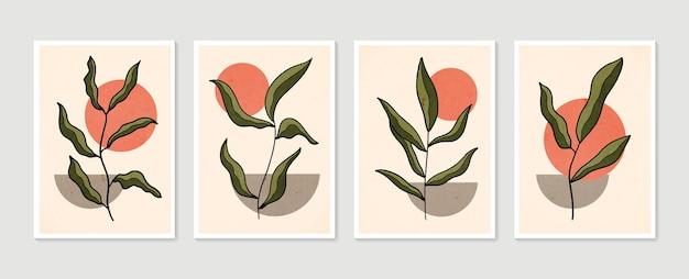 植物の壁アートベクトルセット。現代アートポスターのコレクション。最小限の自然な壁の芸術。