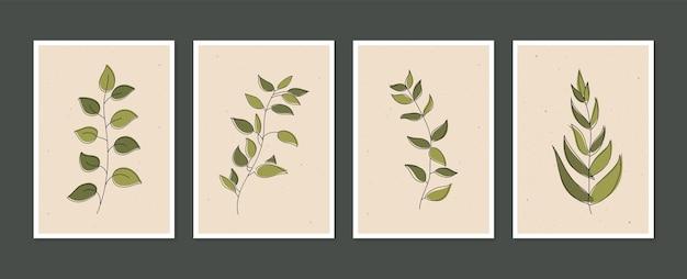 Векторный набор ботанического искусства на стенах коллекция плакатов современного искусства минимальное и естественное настенное искусство
