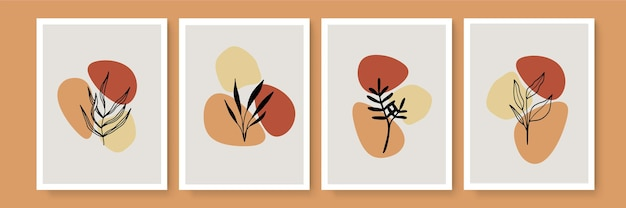식물 벽 예술 벡터 세트입니다. 지구 톤 배경 단풍 라인 아트는 추상적인 모양과 수채화를 사용합니다. 벽 액자 인쇄물, 캔버스 인쇄물, 포스터, 가정 장식, 표지, 벽지 디자인