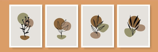 Botanical wall art vector set. earth tone background foliage line art drawing with abstract shape and watercolor. design for wall framed prints, canvas prints, poster, home decor, cover, wallpaper