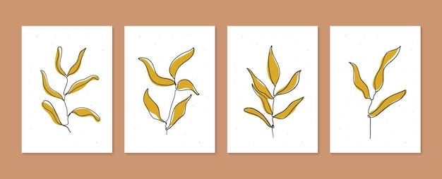 식물 벽 예술 벡터는 추상 샤프가 있는 최소 및 자연 벽 예술 boho 단풍 그리기를 설정합니다.