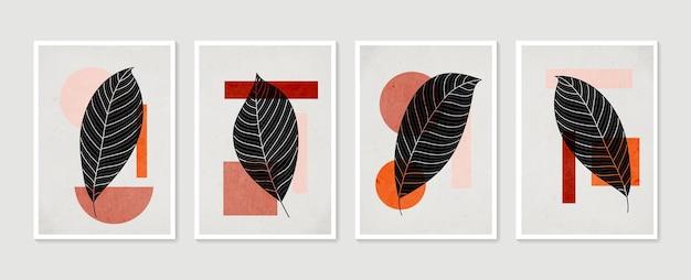 植物の壁アートベクトルセット。最小限の自然な壁の芸術。抽象的な形で自由奔放に生きる葉の描画。