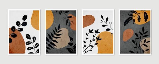 植物の壁アートベクトルセット。最小限の自然な壁の芸術。