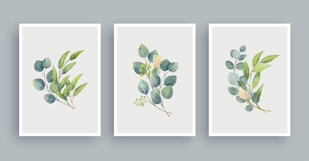植物の壁アート水彩画の背景。葉の芸術の葉と花。