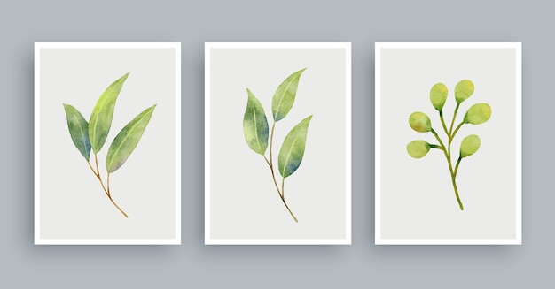 Botanical wall art watercolor painting background. foliage art leaves and flower.