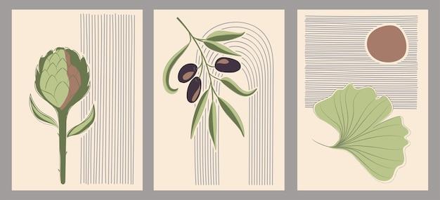 最小限のスタイルで設定された植物の壁のベクトル。芸術的なデッサン、印刷物、カバー、壁紙、ソーシャルメディアストーリーのための抽象的な植物アートデザイン。
