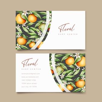 Botanical watercolor orange fruits business card template