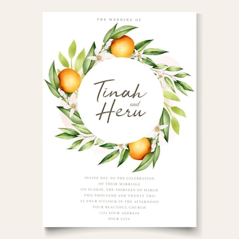 Botanical watercolor orange fruits wedding invitation card template