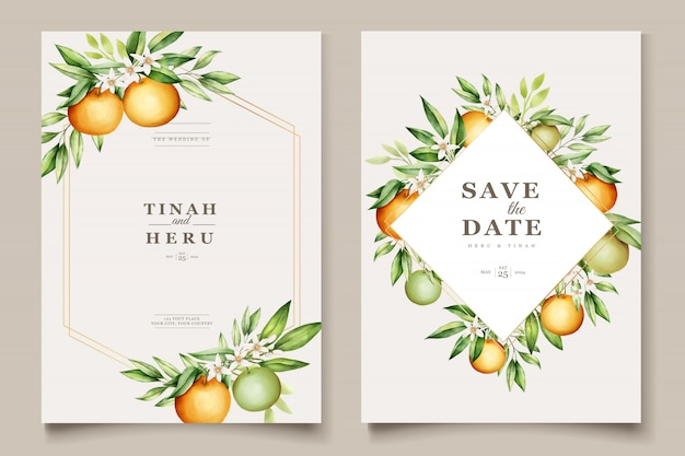 Botanical watercolor orange fruits wedding invitation card template