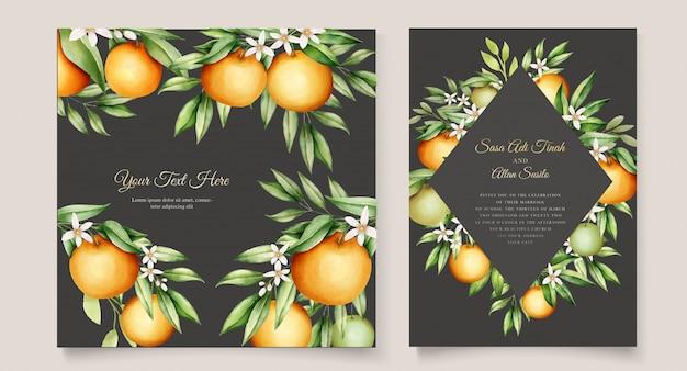 식물 수채화 오렌지 과일 결혼식 초대 카드 템플릿