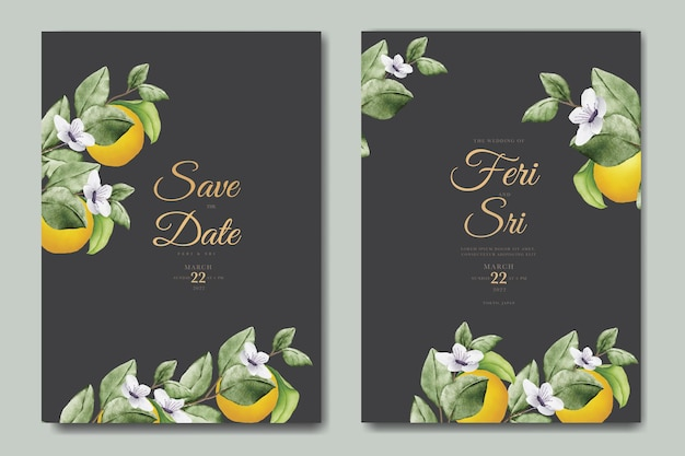 Ботанический акварель оранжевые фрукты свадебное приглашение шаблон