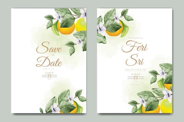 植物の水彩オレンジ色の果物の結婚式の招待カードのテンプレート