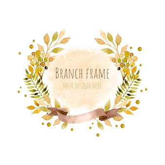 Botanical watercolor wreath frame with branches and ribbon