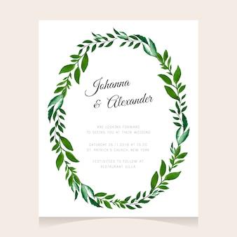 Botanical wedding design with green wreath