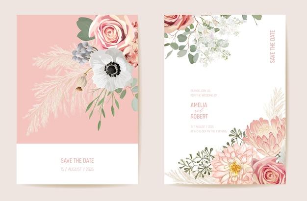 植物の結婚式の招待カードのテンプレートデザイン、春の花のフレームセット、乾燥パンパスグラス水彩画の最小限のベクトル。日付を保存夏の花のモダンなポスター、トレンディな豪華な背景