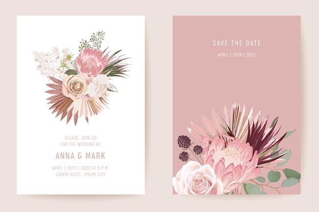 Botanical wedding invitation card template design, tropical palm leaves frame set, dry pampas grass watercolor minimal vector. save the date protea flowers modern poster, trendy luxury background