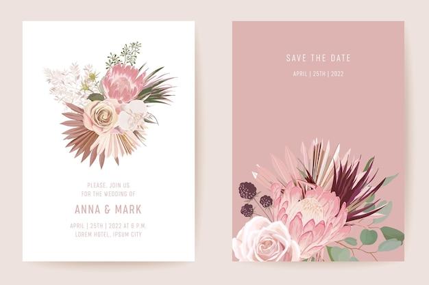 植物の結婚式の招待カードのテンプレートデザイン、熱帯のヤシの葉のフレームセット、乾燥パンパスグラス水彩画の最小限のベクトル。日付を保存プロテアの花のモダンなポスター、トレンディな豪華な背景