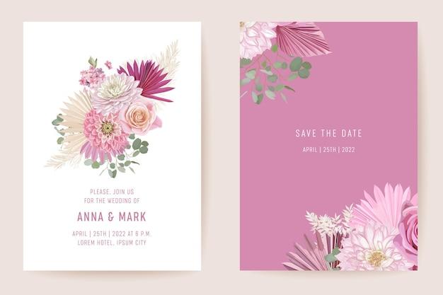 植物の結婚式の招待カードのテンプレートデザイン、熱帯のヤシの葉のフレームセット、乾燥したバラの花の水彩画の最小限のベクトル。日付を保存黄金色の葉のモダンなポスター、トレンディな豪華な背景