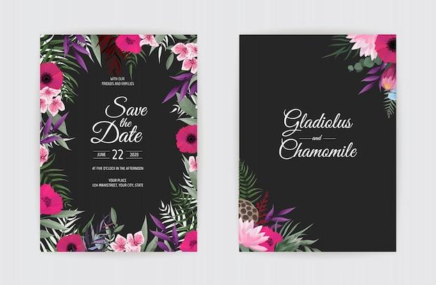 식물 결혼식 초대 카드 템플릿 디자인, 흰색 바탕에 흰색과 분홍색 꽃.