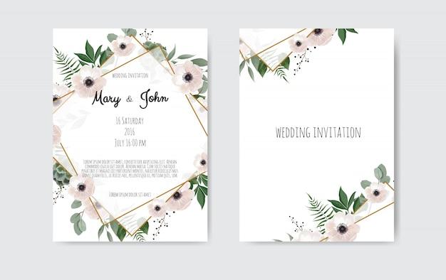 식물 결혼식 초대 카드 템플릿 디자인, 흰색과 분홍색 꽃.