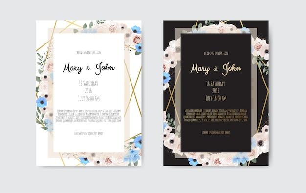 Ботанический свадебный пригласительный билет шаблон дизайна, белые и розовые цветы.