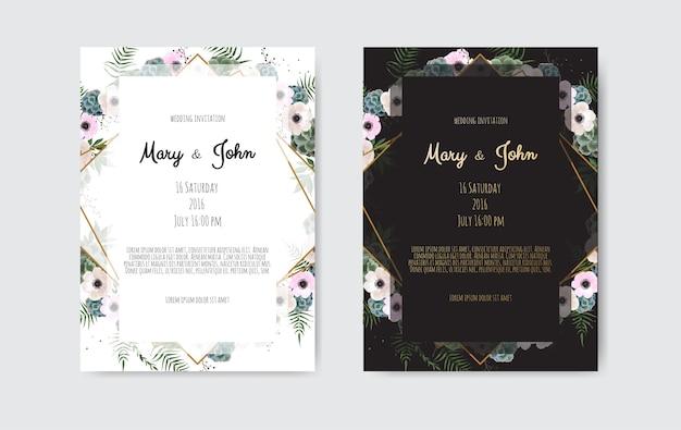 植物の結婚式の招待状カードのデザインテンプレート、白とピンクの花。