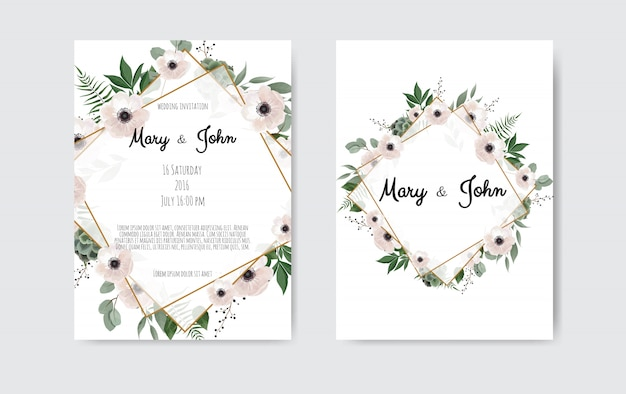Botanical wedding invitation card template design, white and pink flowers.