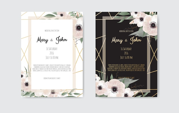Botanical wedding invitation card template design, white and pink flowers