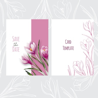 Botanical wedding invitation card template design with crocuses