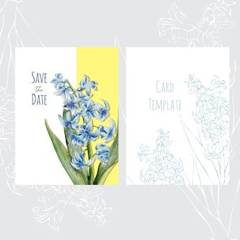 Botanical wedding invitation card template design with hyacinth flowers