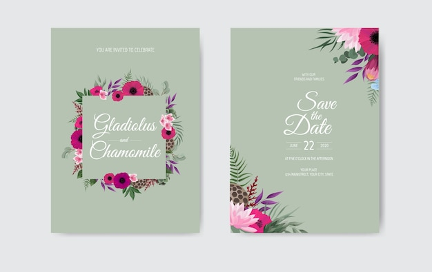 Botanical wedding invitation card template design, with pink flowers