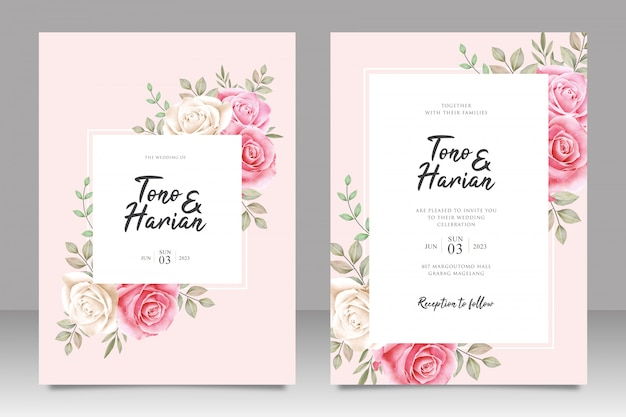 Botanical wedding invitation card template white and pink roses flowers