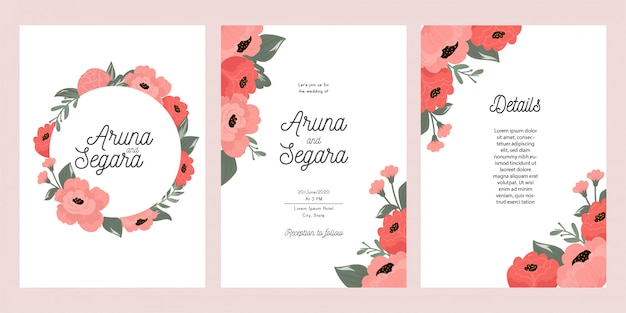 Botanical wedding invitation card template
