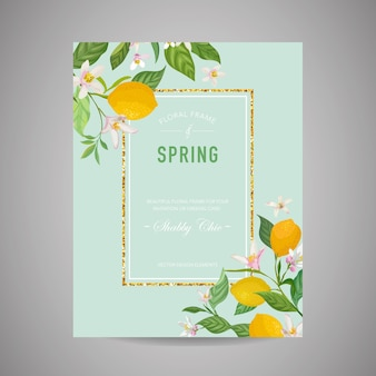 植物の結婚式の招待カード、ヴィンテージsave the date、レモンフルーツの花と葉のテンプレートデザイン、花のイラスト。ベクトル流行の表紙、グラフィックポスター、パンフレット