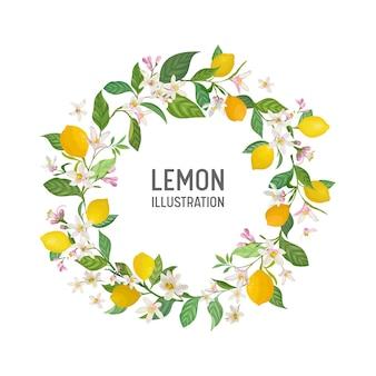 植物の結婚式の招待カード、ヴィンテージsave the date、レモンフルーツの花と葉のテンプレートフレームデザイン、花のイラスト。ベクトル流行の表紙、グラフィックポスター、パンフレット