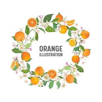 식물 청첩장, 빈티지 저장 날짜, 오렌지, 감귤류 과일, 꽃과 잎, 꽃 삽화의 템플릿 프레임 디자인. 벡터 유행 표지, 그래픽 포스터, 브로셔