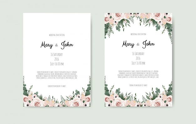 Botanical wedding invitation card
